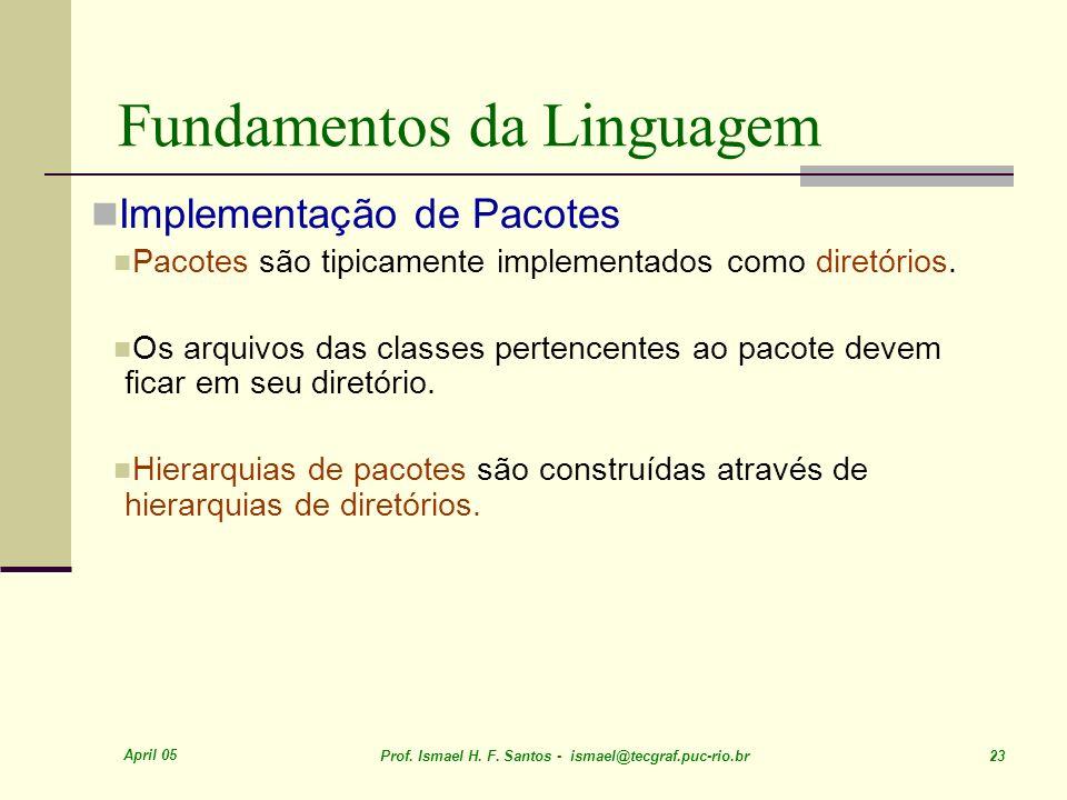 April 05 Prof. Ismael H. F. Santos - ismael@tecgraf.puc-rio.br 23 Fundamentos da Linguagem Implementação de Pacotes Pacotes são tipicamente implementa