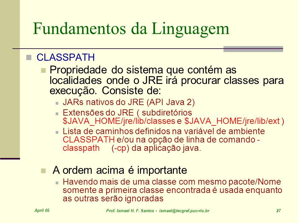 April 05 Prof. Ismael H. F. Santos - ismael@tecgraf.puc-rio.br 27 Fundamentos da Linguagem CLASSPATH Propriedade do sistema que contém as localidades