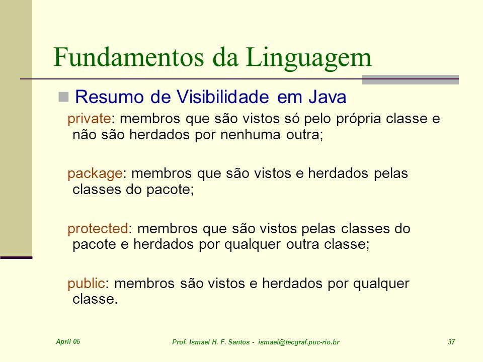April 05 Prof. Ismael H. F. Santos - ismael@tecgraf.puc-rio.br 37 Fundamentos da Linguagem Resumo de Visibilidade em Java private: membros que são vis