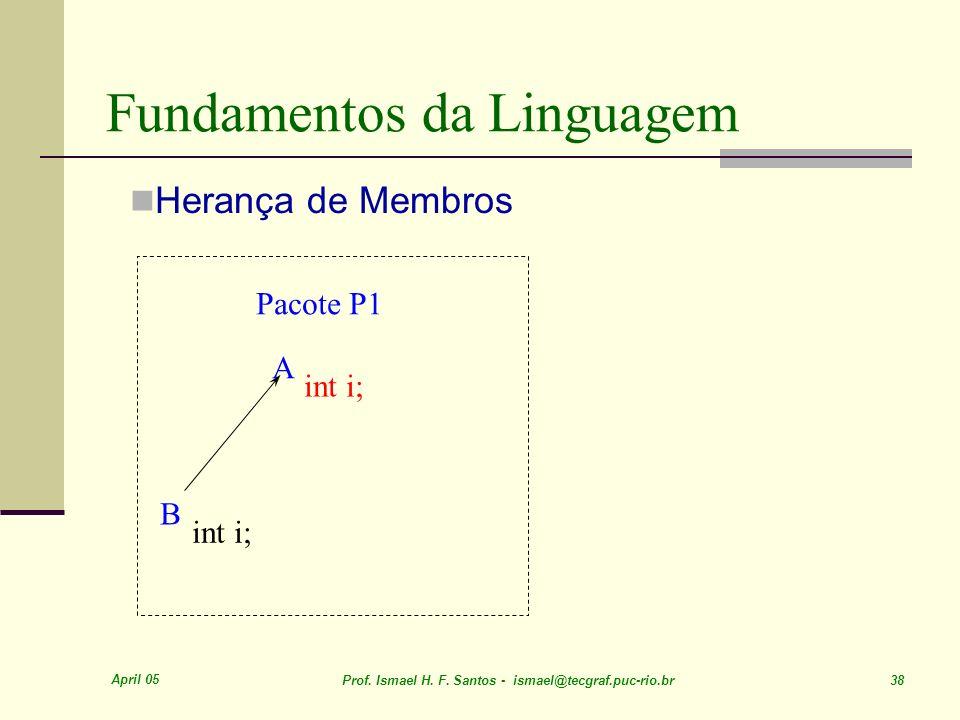 April 05 Prof. Ismael H. F. Santos - ismael@tecgraf.puc-rio.br 38 Fundamentos da Linguagem Herança de Membros A int i; B Pacote P1