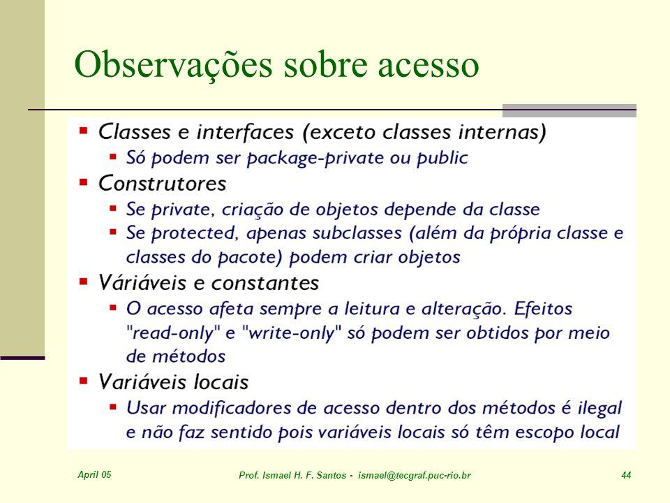 April 05 Prof. Ismael H. F. Santos - ismael@tecgraf.puc-rio.br 44 Observações sobre acesso