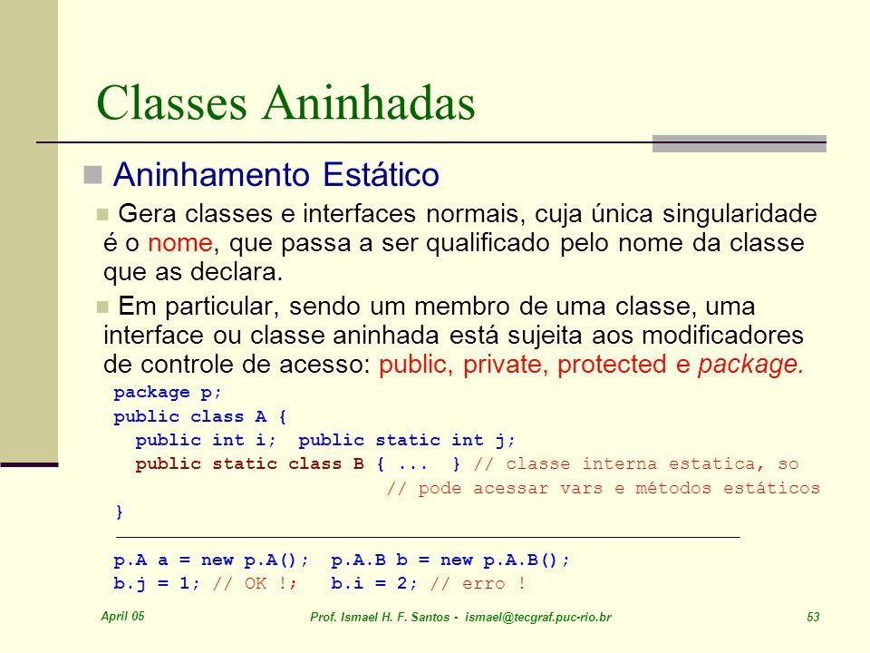 April 05 Prof. Ismael H. F. Santos - ismael@tecgraf.puc-rio.br 53 Classes Aninhadas Aninhamento Estático Gera classes e interfaces normais, cuja única
