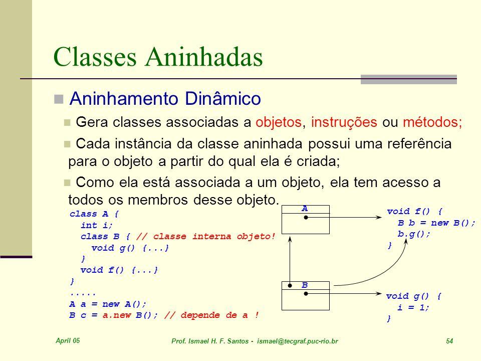 April 05 Prof. Ismael H. F. Santos - ismael@tecgraf.puc-rio.br 54 Classes Aninhadas Aninhamento Dinâmico Gera classes associadas a objetos, instruções