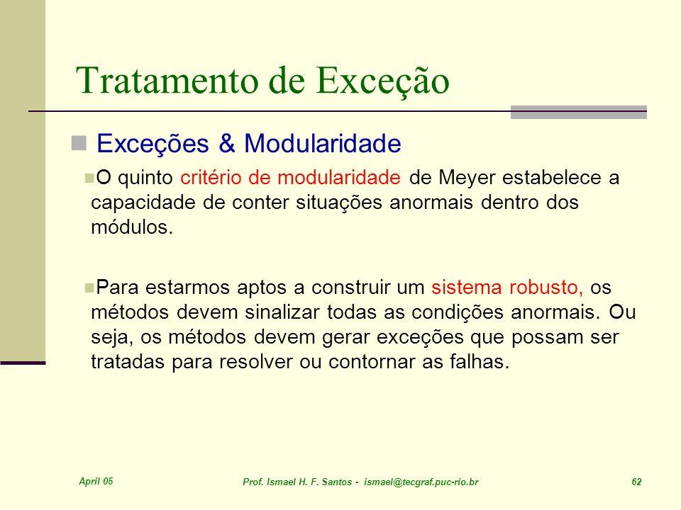 April 05 Prof. Ismael H. F. Santos - ismael@tecgraf.puc-rio.br 62 Tratamento de Exceção Exceções & Modularidade O quinto critério de modularidade de M