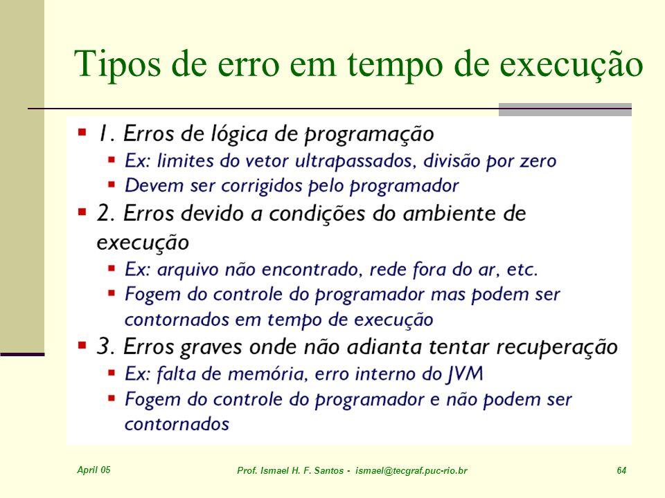 April 05 Prof. Ismael H. F. Santos - ismael@tecgraf.puc-rio.br 64 Tipos de erro em tempo de execução