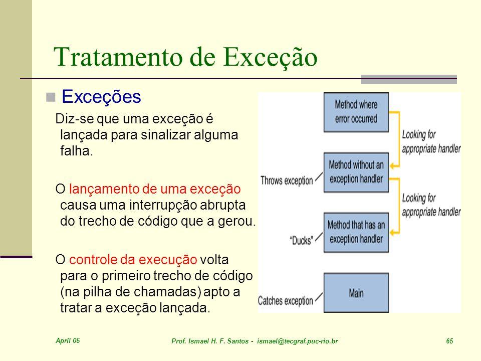 April 05 Prof. Ismael H. F. Santos - ismael@tecgraf.puc-rio.br 65 Tratamento de Exceção Exceções Diz-se que uma exceção é lançada para sinalizar algum