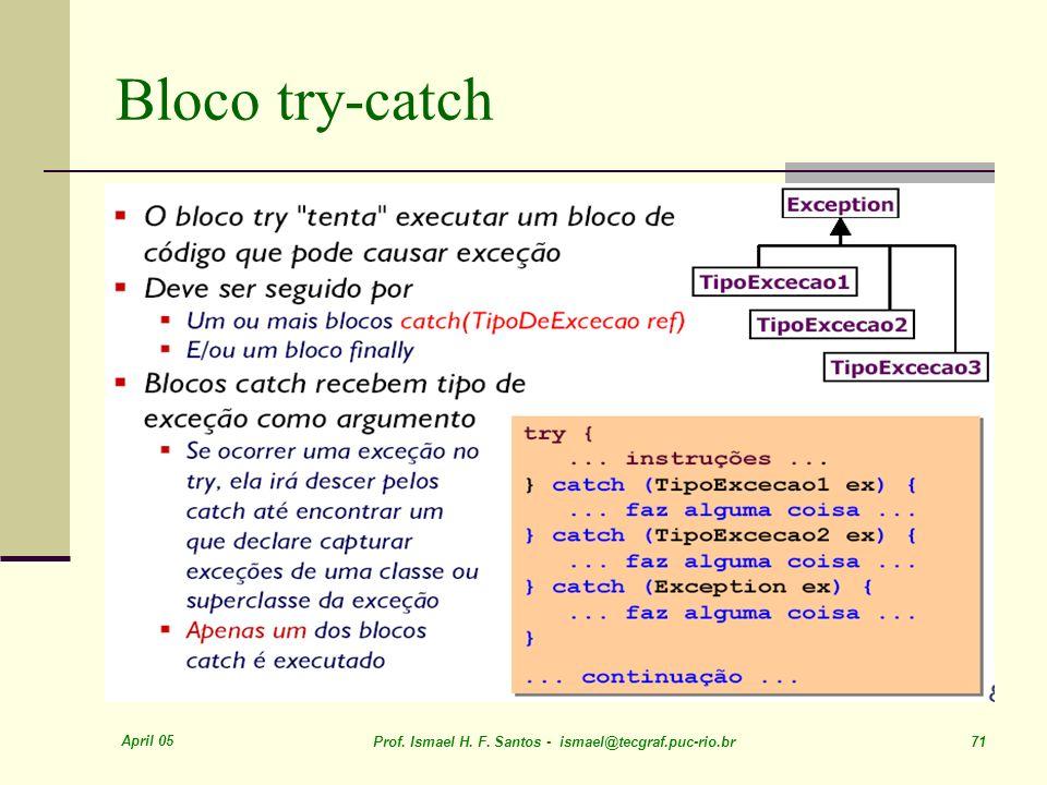 April 05 Prof. Ismael H. F. Santos - ismael@tecgraf.puc-rio.br 71 Bloco try-catch