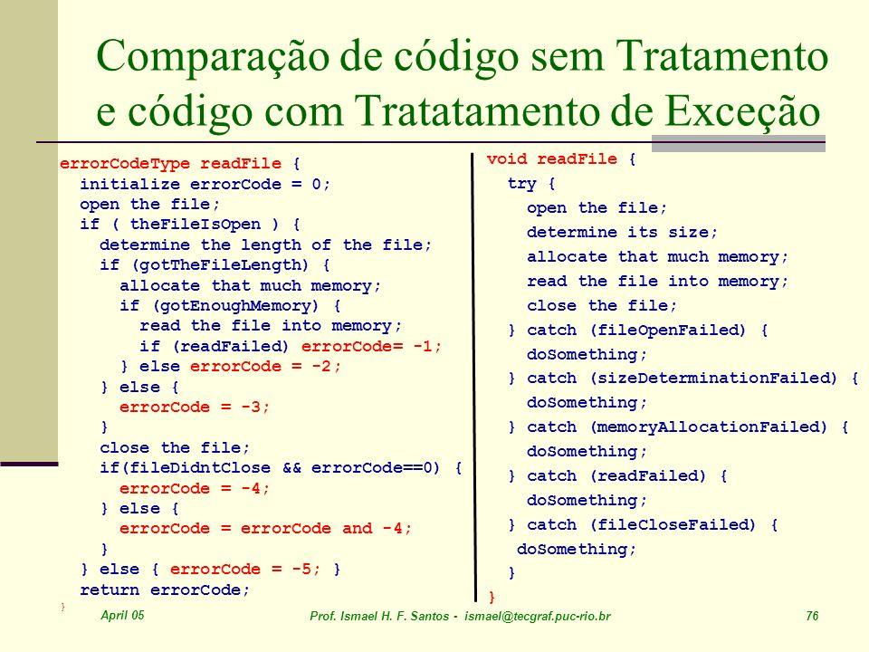 April 05 Prof. Ismael H. F. Santos - ismael@tecgraf.puc-rio.br 76 Comparação de código sem Tratamento e código com Tratatamento de Exceção errorCodeTy