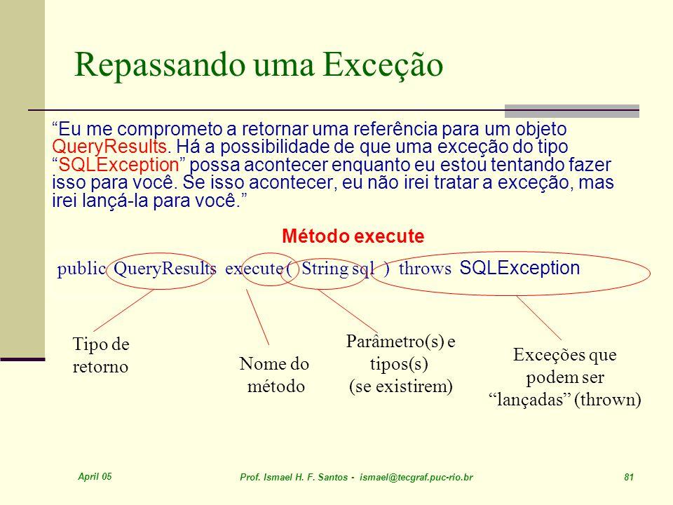 April 05 Prof. Ismael H. F. Santos - ismael@tecgraf.puc-rio.br 81 public QueryResults execute ( String sql ) throws SQLException Tipo de retorno Nome