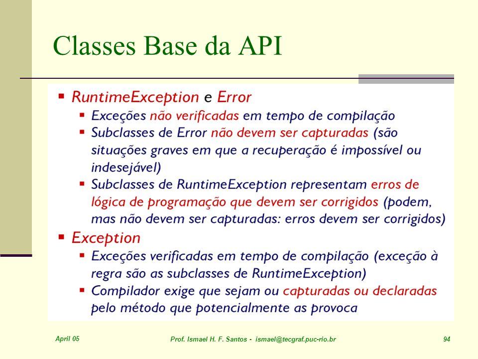 April 05 Prof. Ismael H. F. Santos - ismael@tecgraf.puc-rio.br 94 Classes Base da API