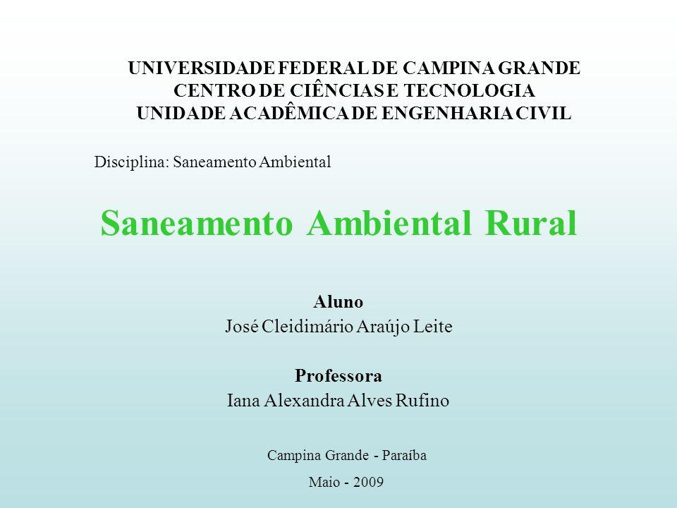 Saneamento Ambiental Rural Saneamento Ambiental Objetivo: Promoção da saúde e a melhoria da qualidade de vida das pessoas aliada à preservação do meio ambiente (MSR/CISAM/AMVAP, 2006).