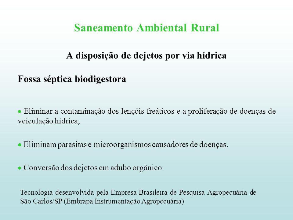 Saneamento Ambiental Rural A disposição de dejetos por via hídrica Fossa séptica biodigestora Eliminar a contaminação dos lençóis freáticos e a prolif