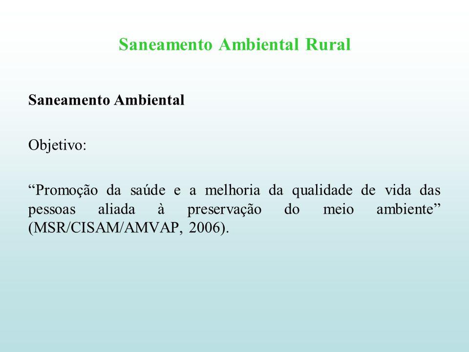 Saneamento Ambiental Rural Saneamento Ambiental Saneamento é dividido em cinco segmentos (MSA/CISAM/AMVAP, 2006): Abastecimento de água Esgotamento sanitário Drenagem pluvial Controle de vetores Coleta de resíduos sólidos