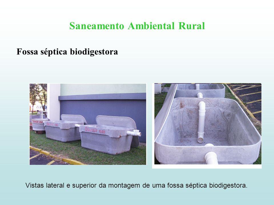 Saneamento Ambiental Rural Fossa séptica biodigestora Vistas lateral e superior da montagem de uma fossa séptica biodigestora.