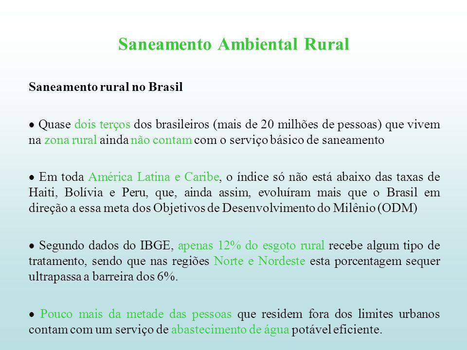 Saneamento Ambiental Rural Saneamento rural no Brasil Quase dois terços dos brasileiros (mais de 20 milhões de pessoas) que vivem na zona rural ainda