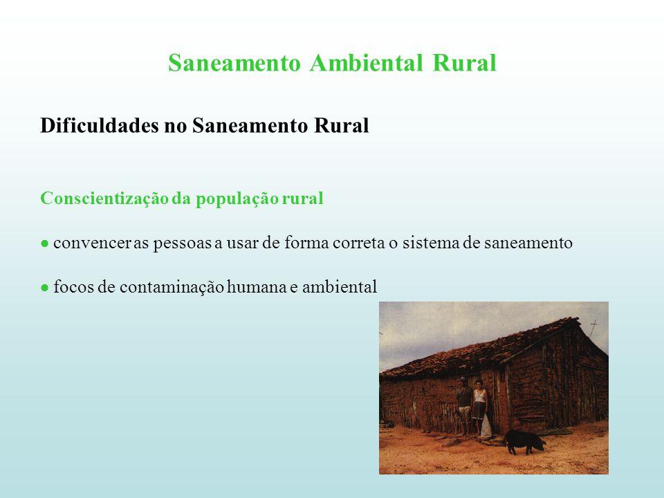 Saneamento Ambiental Rural Dificuldades no Saneamento Rural Programas de educação sanitária Dificuldade de perceber a relação entre o uso do sistema de saneamento (privada higiênica) e a melhoria da condição de saúde.
