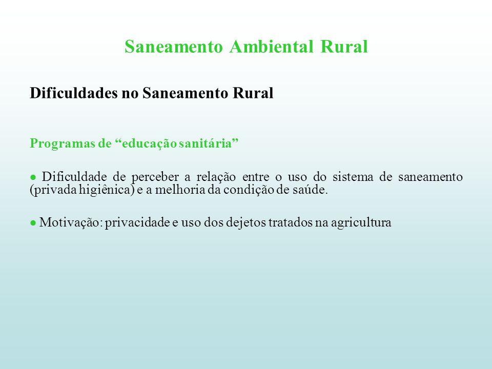 Saneamento Ambiental Rural Dificuldades no Saneamento Rural Programas de educação sanitária Dificuldade de perceber a relação entre o uso do sistema d