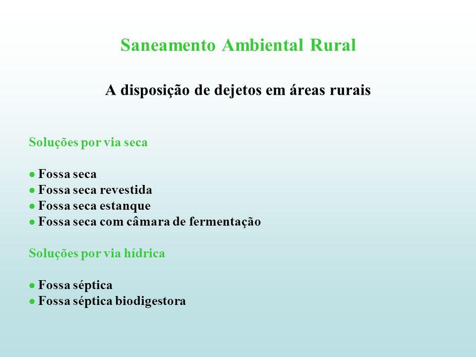 Saneamento Ambiental Rural Fossa seca Consiste basicamente numa escavação no solo com forma cilíndrica (diâmetro 0,80 m) ou de seção quadrada (lado 0,80 m) na qual as fezes e o material de asseio (papel, etc) são depositados.