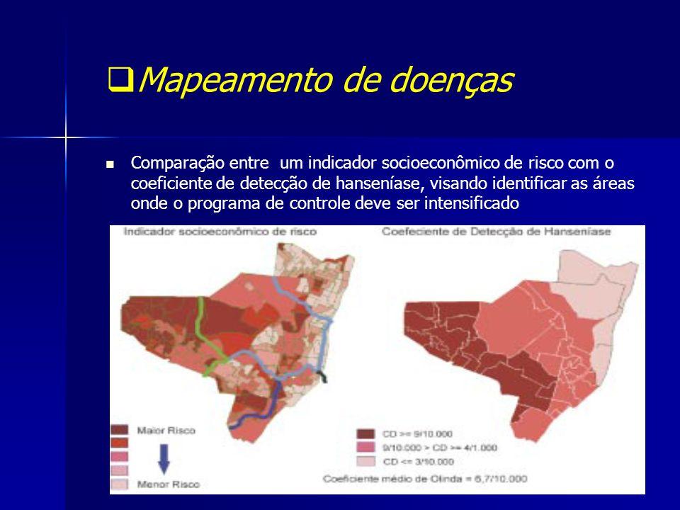 Mapeamento de doenças Comparação entre um indicador socioeconômico de risco com o coeficiente de detecção de hanseníase, visando identificar as áreas