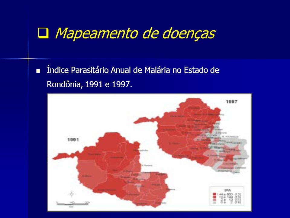 Mapeamento de doenças Índice Parasitário Anual de Malária no Estado de Rondônia, 1991 e 1997.