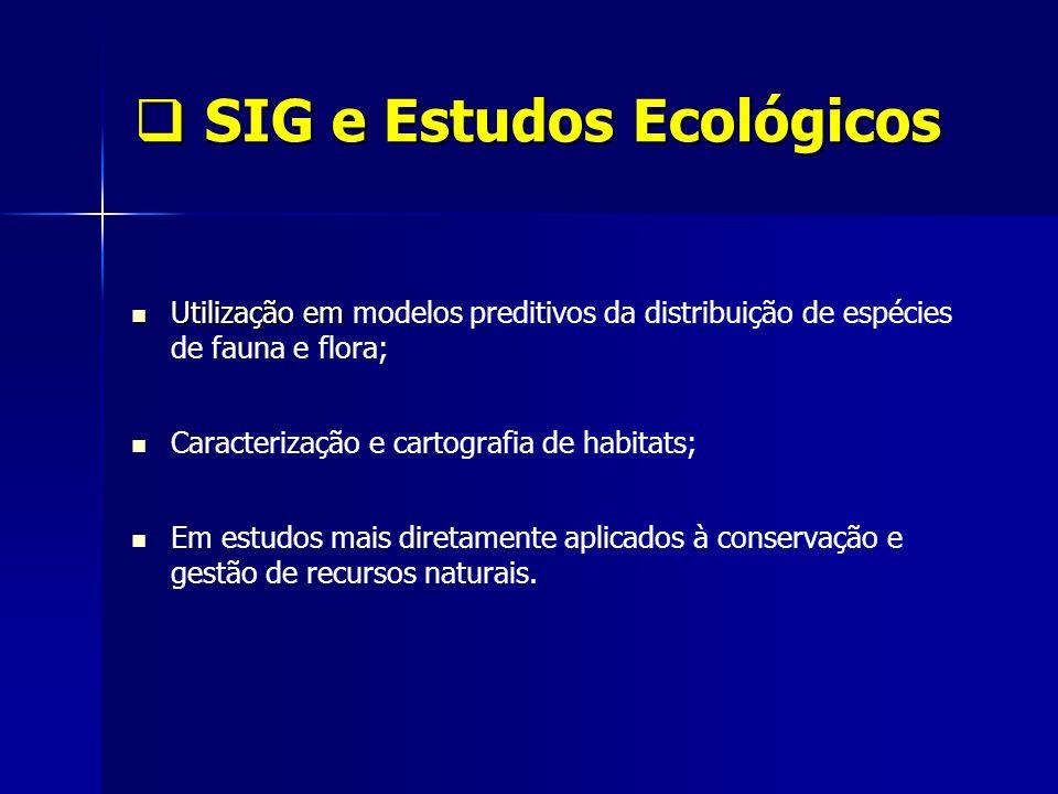 SIG e Estudos Ecológicos SIG e Estudos Ecológicos Utilização em Utilização em modelos preditivos da distribuição de espécies de fauna e flora; Caracte