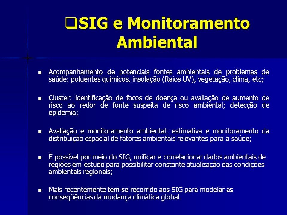 SIG e Monitoramento Ambiental SIG e Monitoramento Ambiental Acompanhamento de potenciais fontes ambientais de problemas de saúde: poluentes químicos,