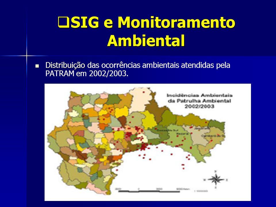 SIG e Monitoramento Ambiental SIG e Monitoramento Ambiental Distribuição Distribuição das ocorrências ambientais atendidas pela PATRAM em 2002/2003.