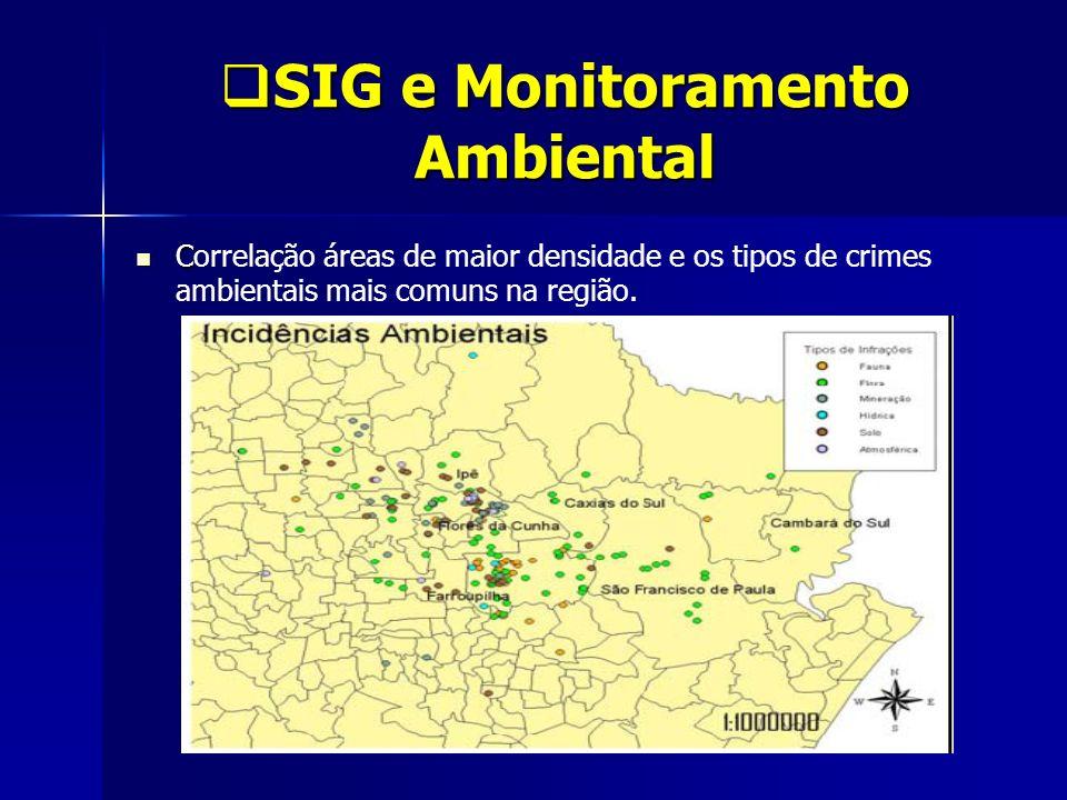 SIG e Monitoramento Ambiental SIG e Monitoramento Ambiental C Correlação áreas de maior densidade e os tipos de crimes ambientais mais comuns na regiã