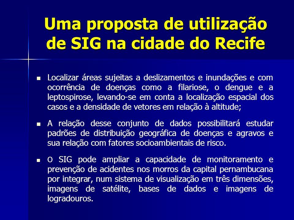 Uma proposta de utilização de SIG na cidade do Recife Localizar áreas sujeitas a deslizamentos e inundações e com ocorrência de doenças como a filario