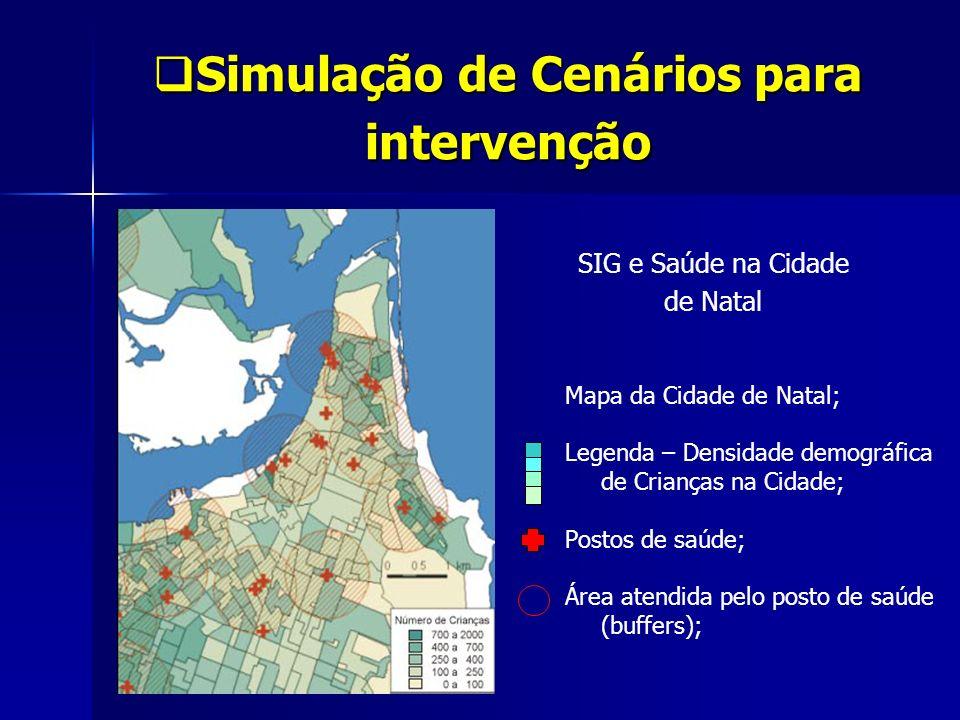 Simulação de Cenários para intervenção Simulação de Cenários para intervenção Mapa da Cidade de Natal; Legenda – Densidade demográfica de Crianças na