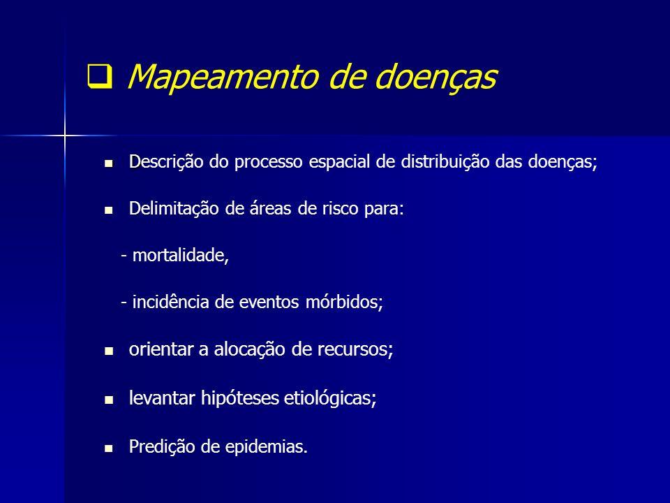 Mapeamento de doenças D Descrição do processo espacial de distribuição das doenças; Delimitação de áreas de risco para: - mortalidade, - incidência de