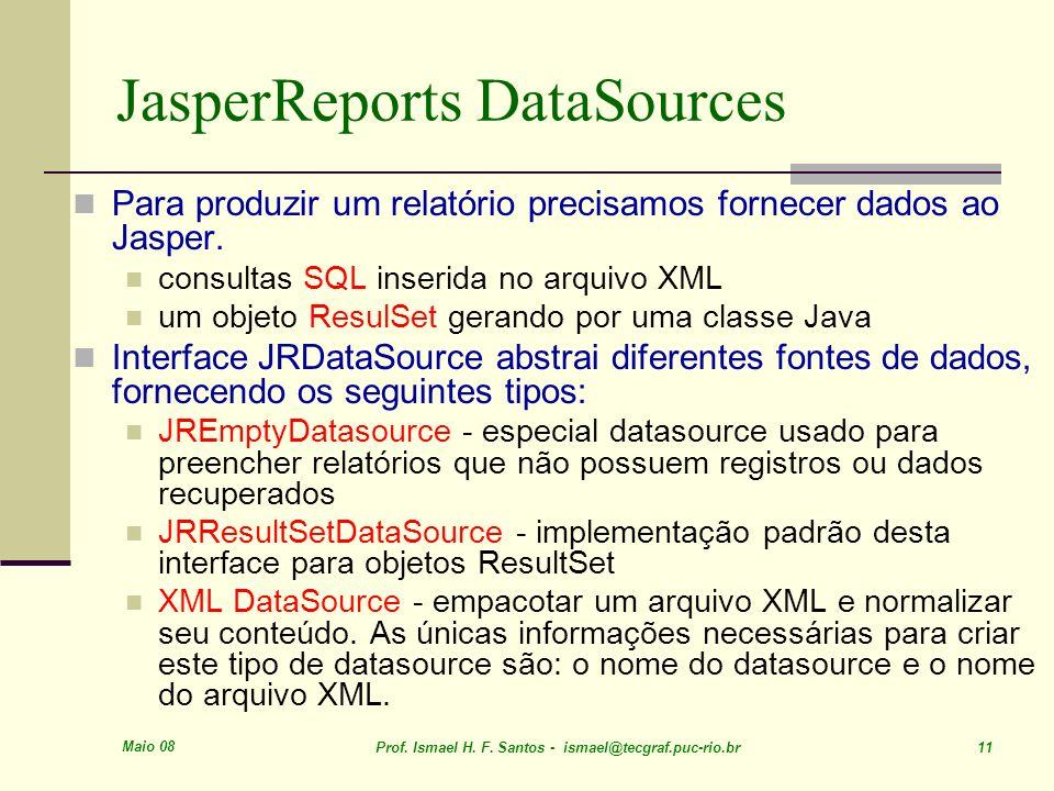 Maio 08 Prof. Ismael H. F. Santos - ismael@tecgraf.puc-rio.br 11 JasperReports DataSources Para produzir um relatório precisamos fornecer dados ao Jas