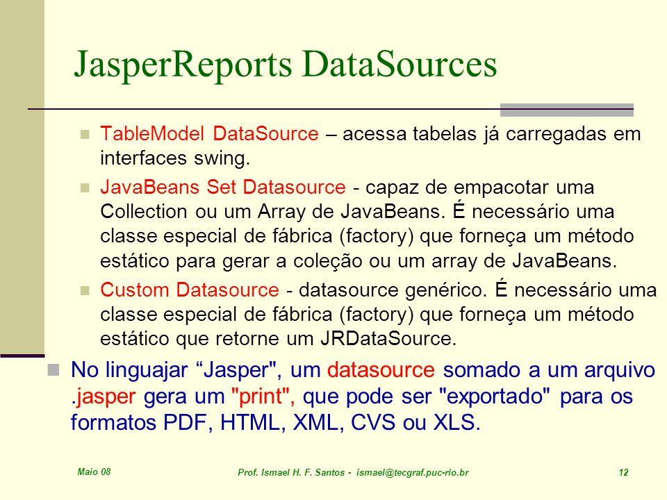 Maio 08 Prof. Ismael H. F. Santos - ismael@tecgraf.puc-rio.br 12 JasperReports DataSources TableModel DataSource – acessa tabelas já carregadas em int