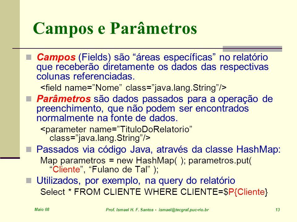 Maio 08 Prof. Ismael H. F. Santos - ismael@tecgraf.puc-rio.br 13 Campos e Parâmetros Campos (Fields) são áreas específicas no relatório que receberão