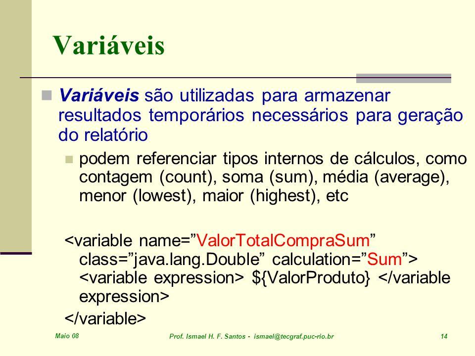 Maio 08 Prof. Ismael H. F. Santos - ismael@tecgraf.puc-rio.br 14 Variáveis Variáveis são utilizadas para armazenar resultados temporários necessários