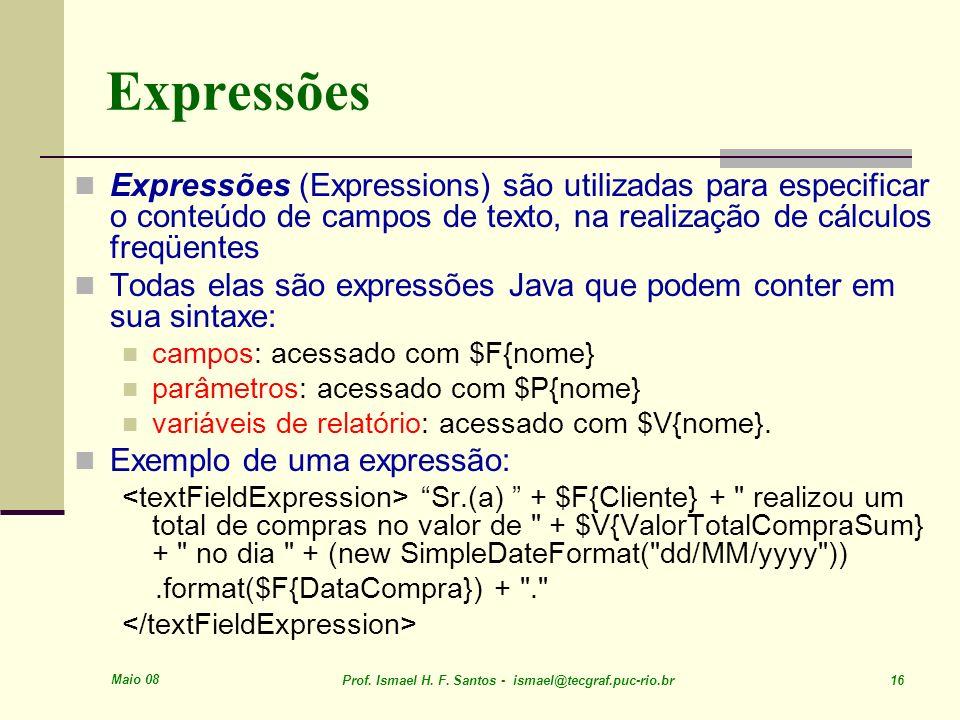 Maio 08 Prof. Ismael H. F. Santos - ismael@tecgraf.puc-rio.br 16 Expressões Expressões (Expressions) são utilizadas para especificar o conteúdo de cam