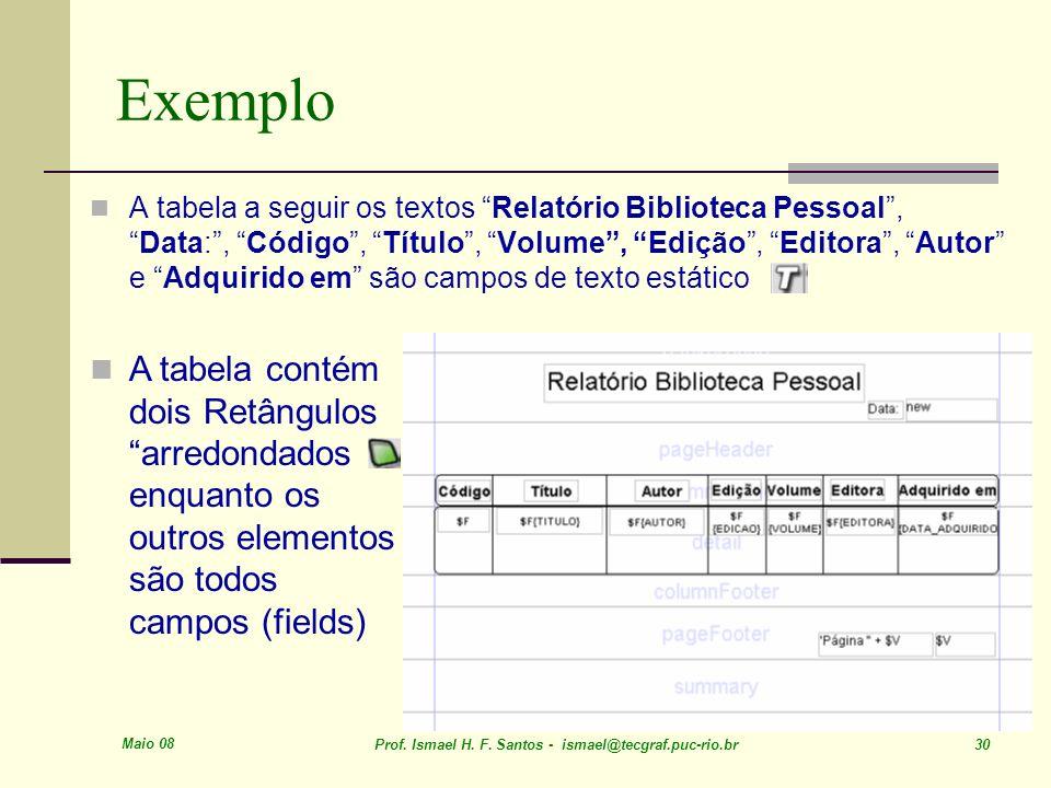 Maio 08 Prof. Ismael H. F. Santos - ismael@tecgraf.puc-rio.br 30 Exemplo A tabela a seguir os textos Relatório Biblioteca Pessoal,Data:, Código, Títul