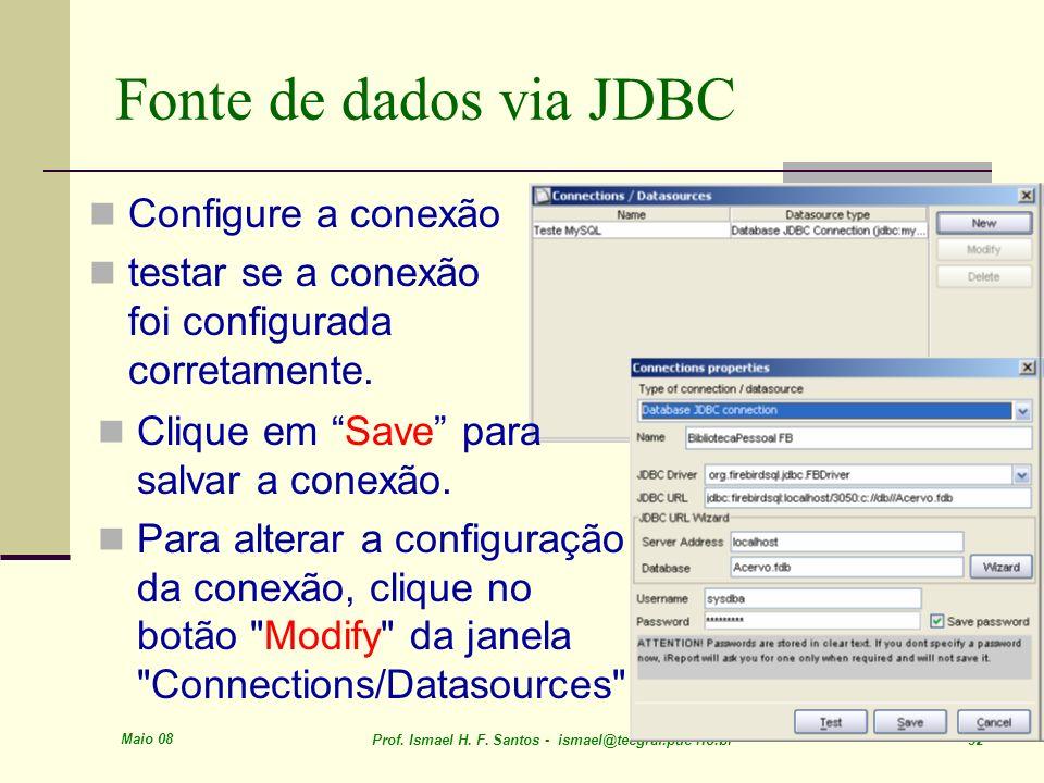 Maio 08 Prof. Ismael H. F. Santos - ismael@tecgraf.puc-rio.br 32 Fonte de dados via JDBC Configure a conexão testar se a conexão foi configurada corre