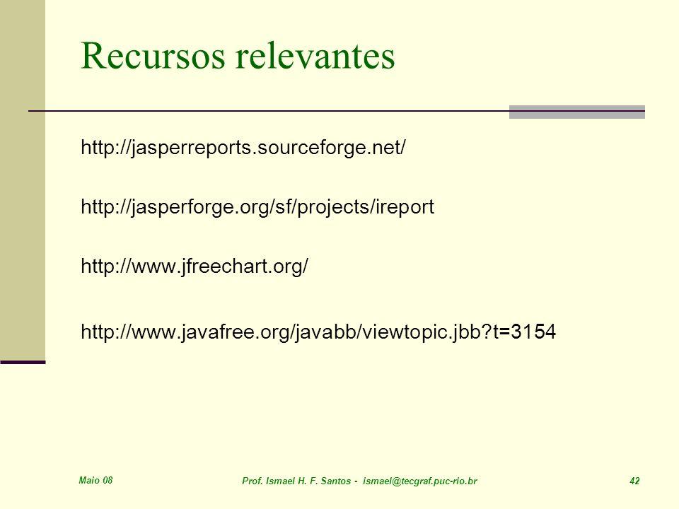 Maio 08 Prof. Ismael H. F. Santos - ismael@tecgraf.puc-rio.br 42 Recursos relevantes http://jasperreports.sourceforge.net/ http://jasperforge.org/sf/p