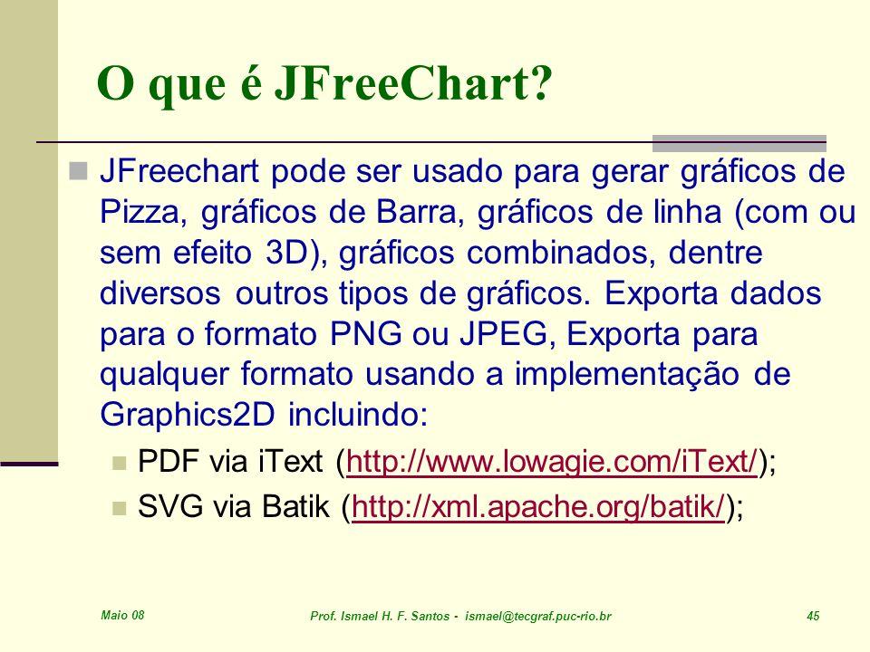 Maio 08 Prof. Ismael H. F. Santos - ismael@tecgraf.puc-rio.br 45 O que é JFreeChart? JFreechart pode ser usado para gerar gráficos de Pizza, gráficos