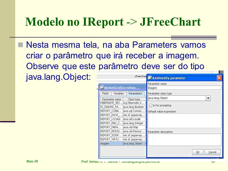 Maio 08 Prof. Ismael H. F. Santos - ismael@tecgraf.puc-rio.br 49 Modelo no IReport -> JFreeChart Nesta mesma tela, na aba Parameters vamos criar o par