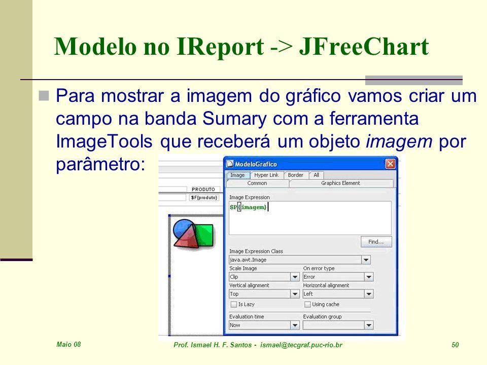 Maio 08 Prof. Ismael H. F. Santos - ismael@tecgraf.puc-rio.br 50 Modelo no IReport -> JFreeChart Para mostrar a imagem do gráfico vamos criar um campo