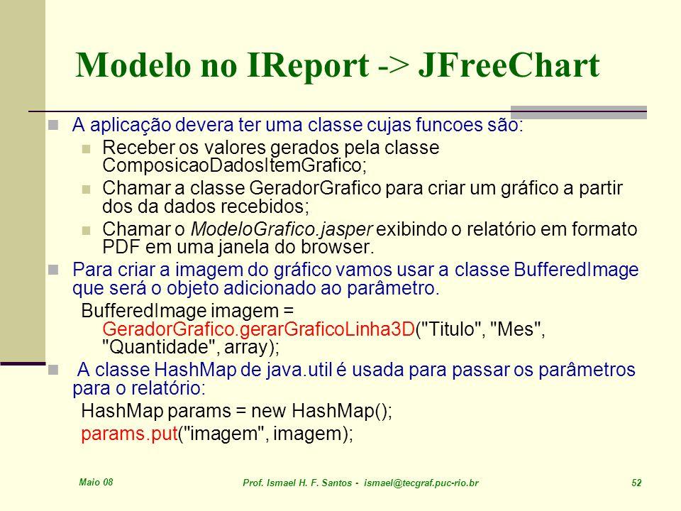 Maio 08 Prof. Ismael H. F. Santos - ismael@tecgraf.puc-rio.br 52 Modelo no IReport -> JFreeChart A aplicação devera ter uma classe cujas funcoes são: