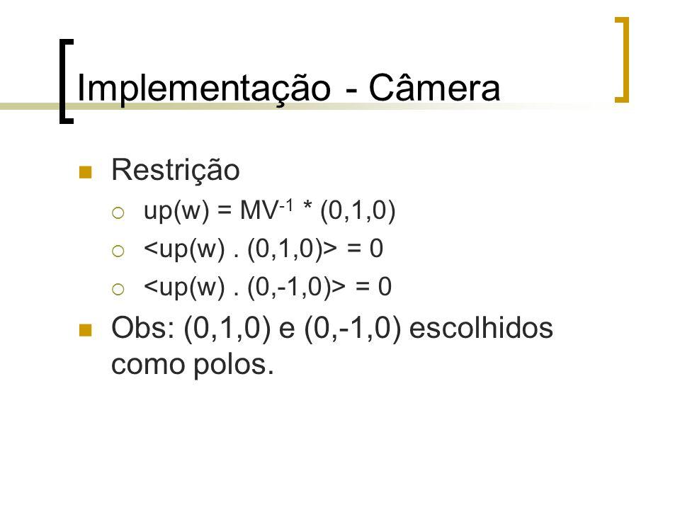 Implementação - Câmera Restrição up(w) = MV -1 * (0,1,0) = 0 Obs: (0,1,0) e (0,-1,0) escolhidos como polos.