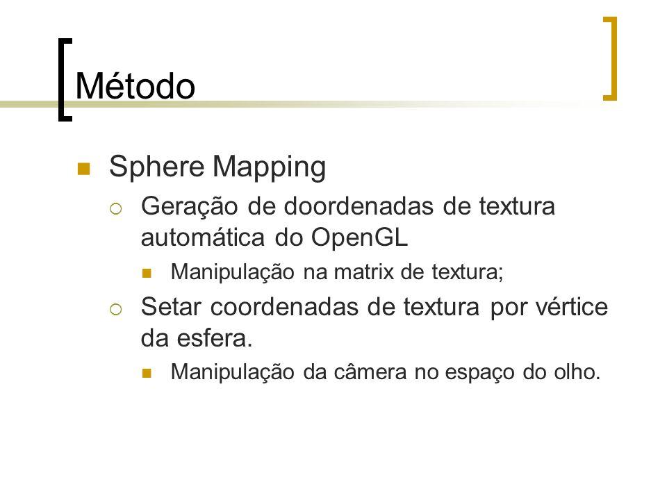 Método Sphere Mapping Geração de doordenadas de textura automática do OpenGL Manipulação na matrix de textura; Setar coordenadas de textura por vértic