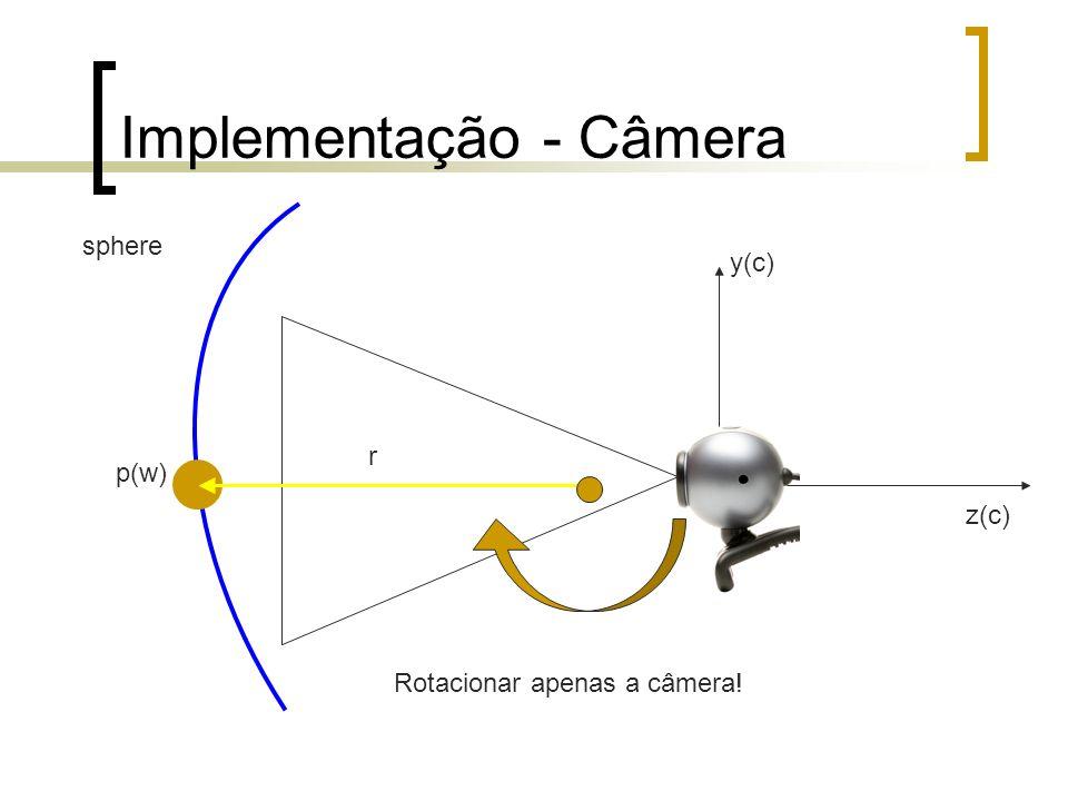Implementação - Câmera y(c) z(c) r sphere p(w) Rotacionar apenas a câmera!