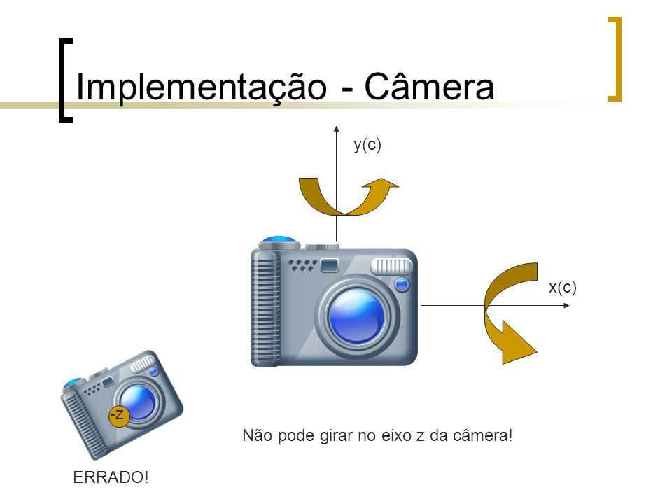 Implementação - Câmera y(c) x(c) ERRADO! -z Não pode girar no eixo z da câmera!