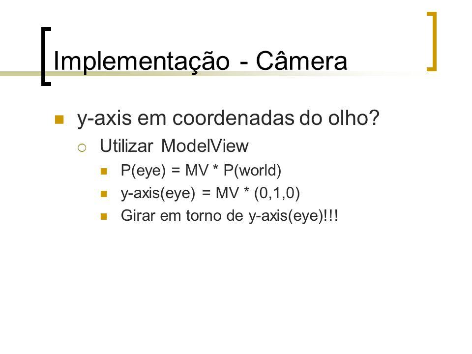 Implementação - Câmera y-axis em coordenadas do olho? Utilizar ModelView P(eye) = MV * P(world) y-axis(eye) = MV * (0,1,0) Girar em torno de y-axis(ey