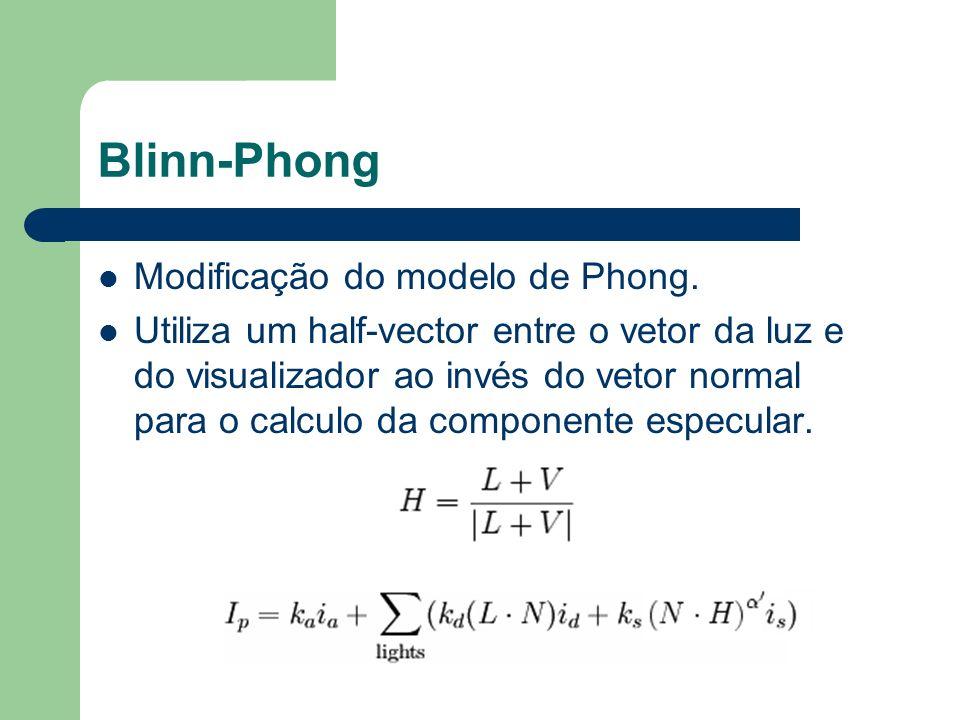 Blinn-Phong Modificação do modelo de Phong. Utiliza um half-vector entre o vetor da luz e do visualizador ao invés do vetor normal para o calculo da c