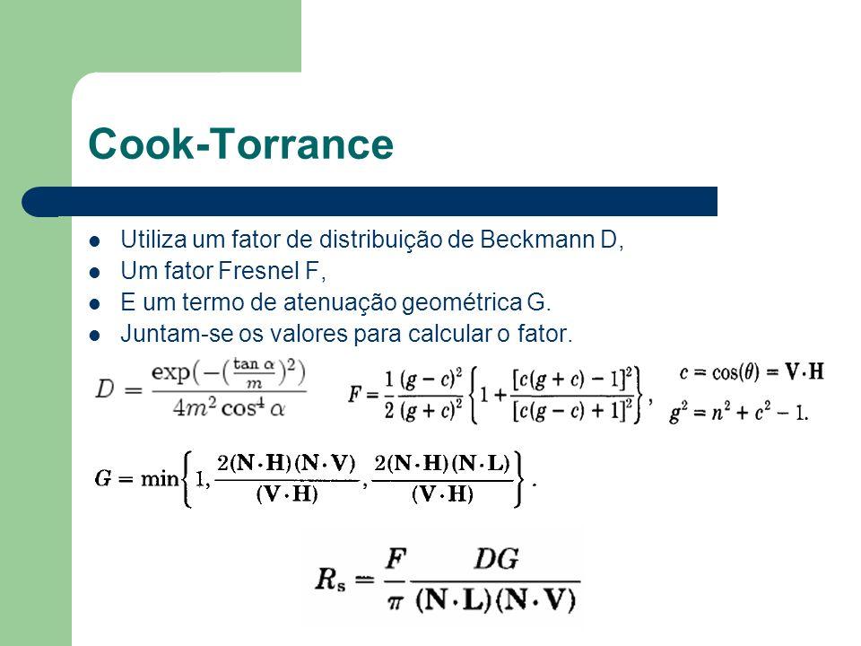 Cook-Torrance Utiliza um fator de distribuição de Beckmann D, Um fator Fresnel F, E um termo de atenuação geométrica G. Juntam-se os valores para calc